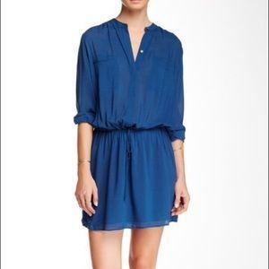 Vince Blue Shirred Shirt Dress Long Sleeve
